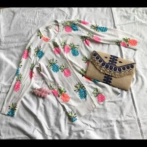 Pineapple-print button-down cardigan